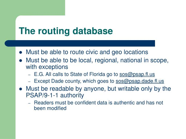 The routing database