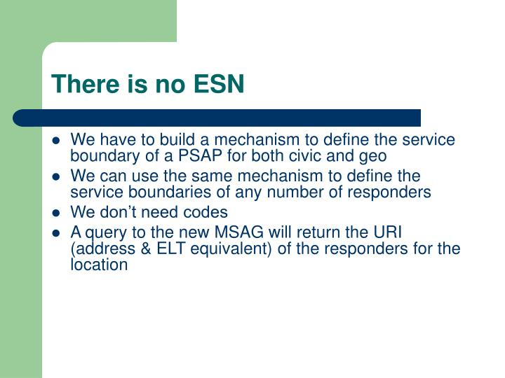 There is no ESN