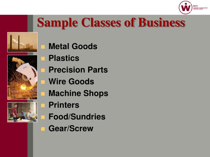 Sample Classes of Business