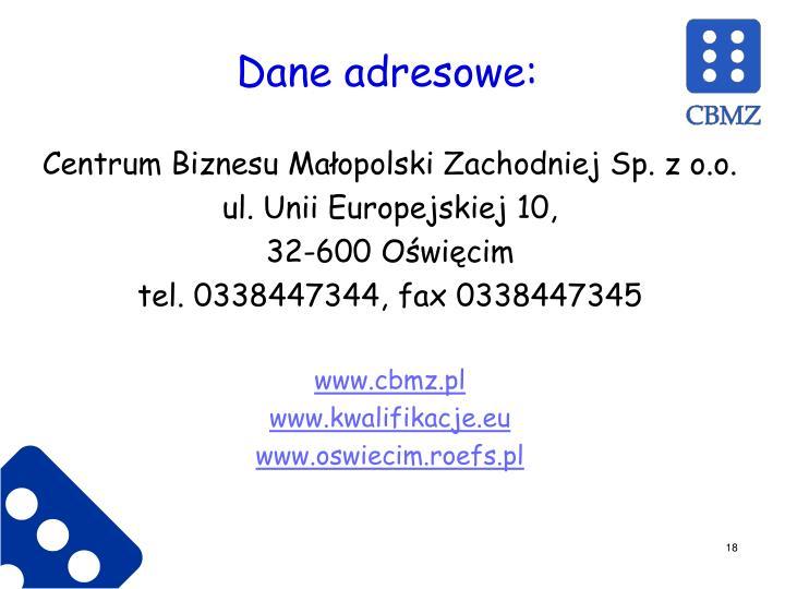 Dane adresowe: