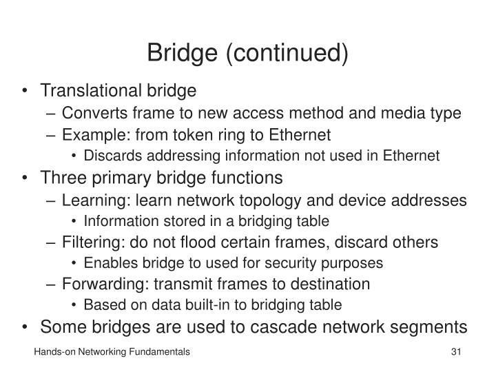 Bridge (continued)