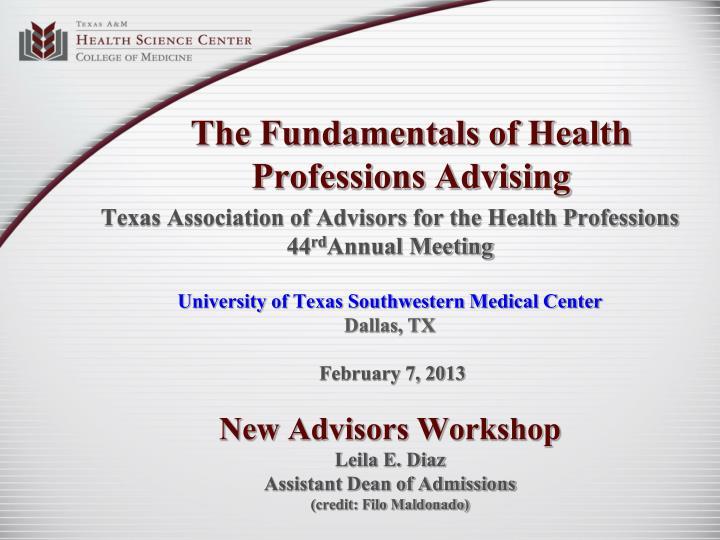 The Fundamentals of Health Professions Advising