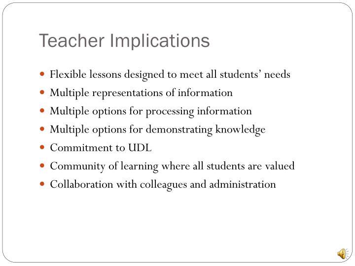 Teacher Implications