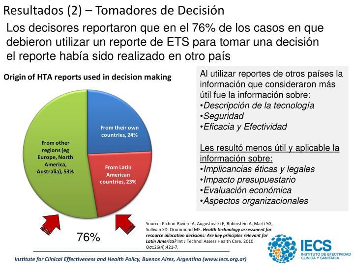 Resultados (2) – Tomadores de Decisión