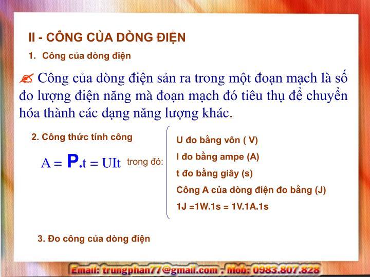 II - CÔNG CỦA DÒNG ĐIỆN