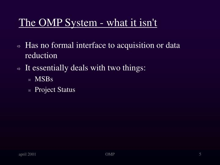 The OMP System - what it isn't