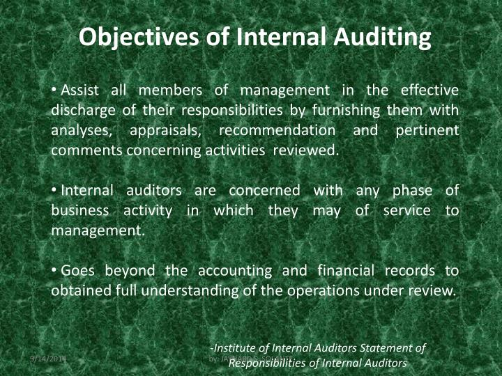 Objectives of Internal Auditing