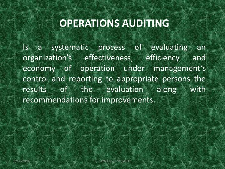 OPERATIONS AUDITING