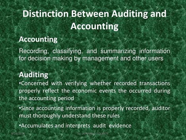 Distinction Between Auditing and Accounting