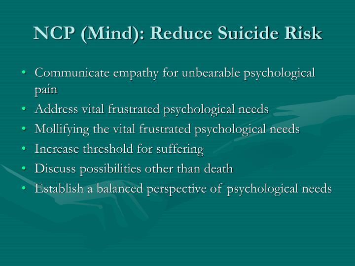 NCP (Mind): Reduce Suicide Risk