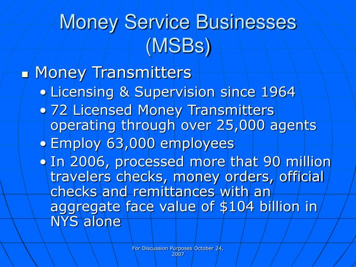 Money service businesses msbs