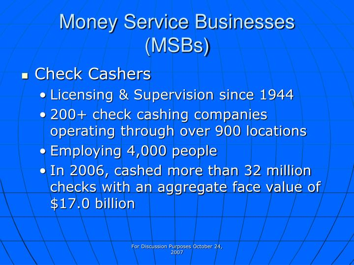 Money service businesses msbs1