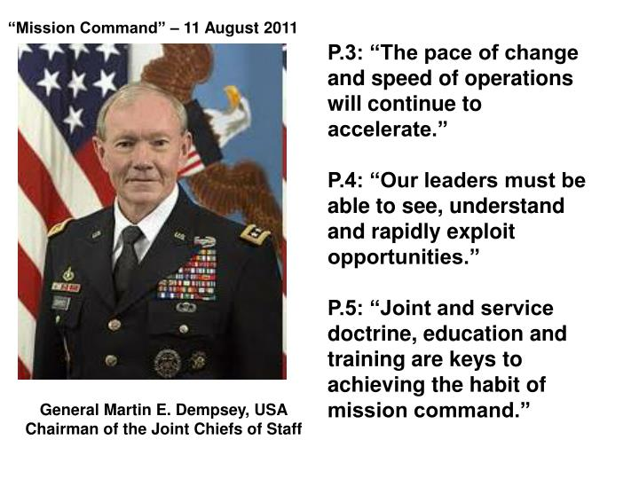 """Mission Command"" – 11 August 2011"