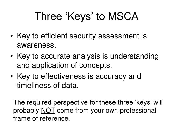 Three 'Keys' to MSCA