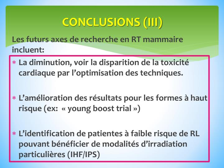 CONCLUSIONS (III)