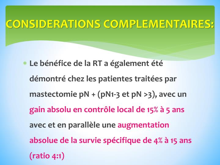 CONSIDERATIONS COMPLEMENTAIRES: