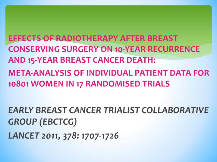 EFFECTS OF RADIOTHERAPY AFTER BREAST CONSERVING SURGERY ON 10-YEAR RECURRENCE AND 15-YEAR BREAST CANCER DEATH: