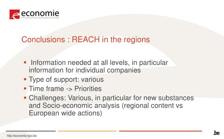 Conclusions : REACH in the regions