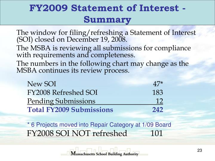 FY2009 Statement of Interest - Summary