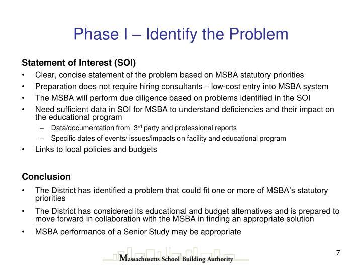 Phase I – Identify the Problem