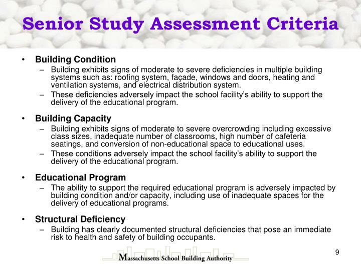 Senior Study Assessment Criteria