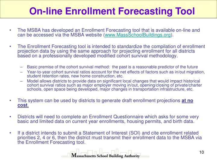 On-line Enrollment Forecasting Tool