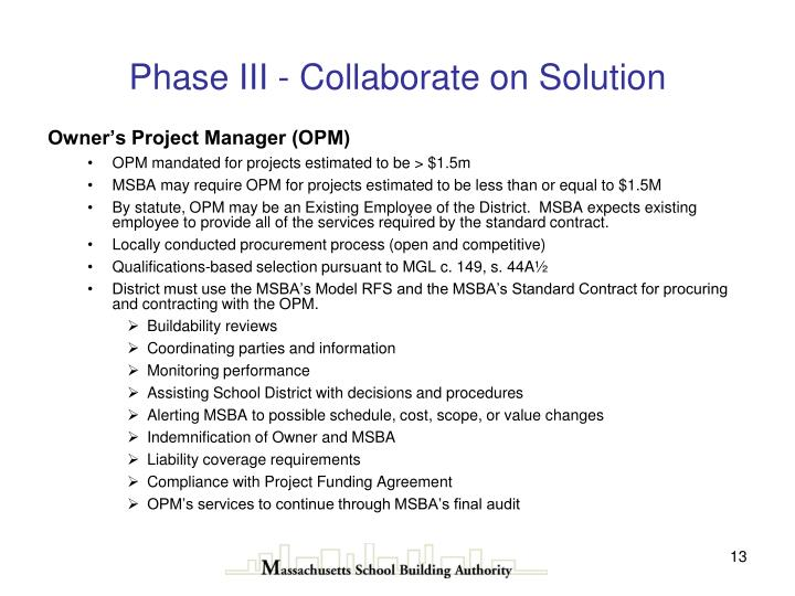 Phase III - Collaborate on Solution