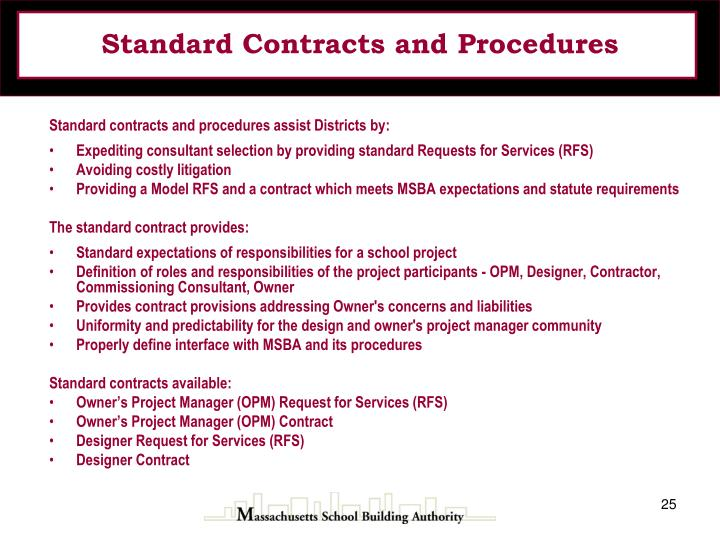 Standard Contracts and Procedures