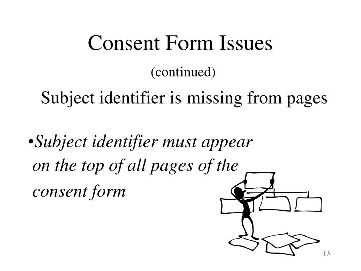 Consent Form Issues
