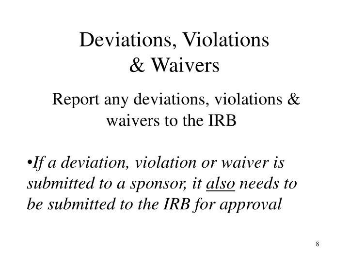 Deviations, Violations