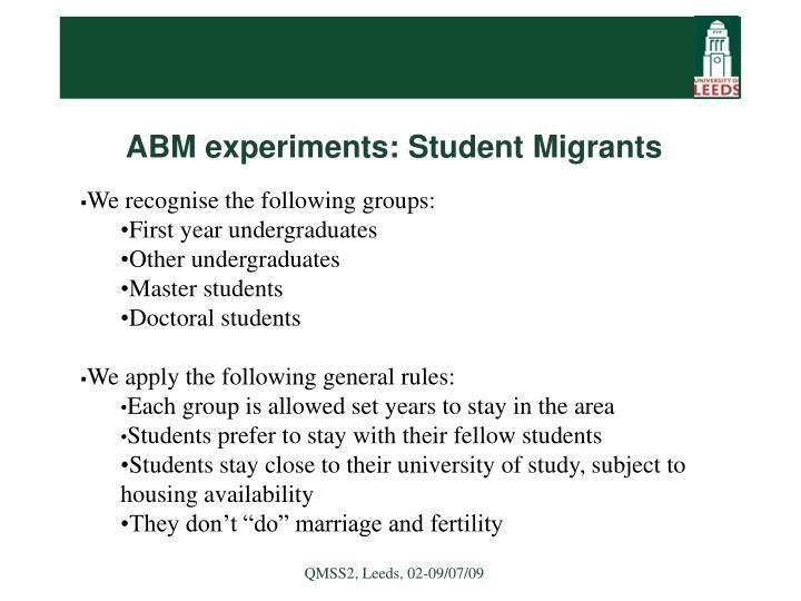 ABM experiments: Student Migrants