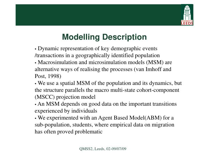 Modelling Description