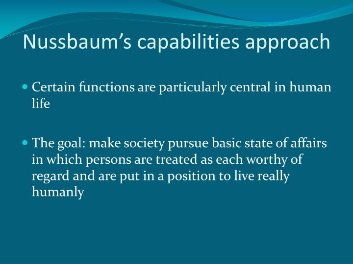 Nussbaum's capabilities approach