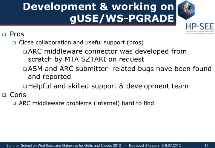 Development & working on gUSE/WS-PGRADE