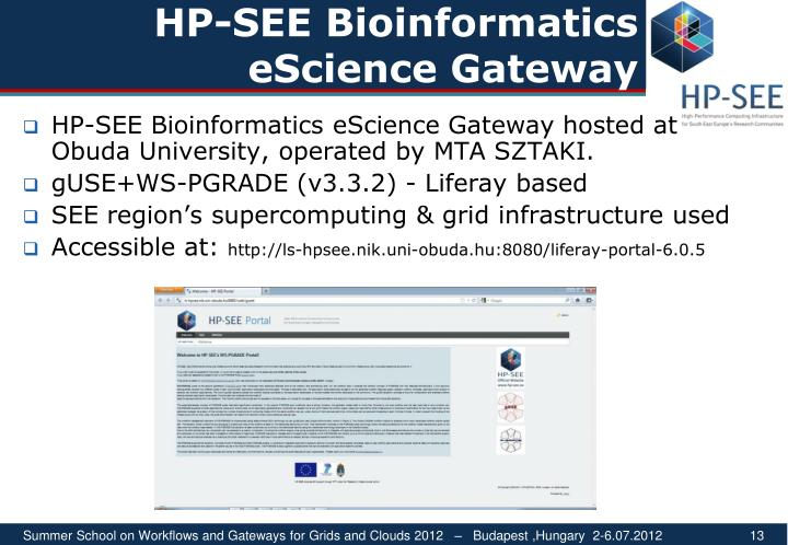 HP-SEE Bioinformatics eScience Gateway