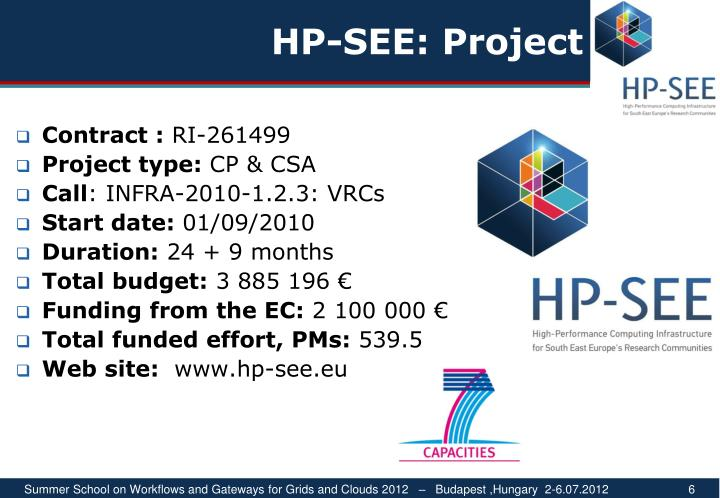 HP-SEE: Project