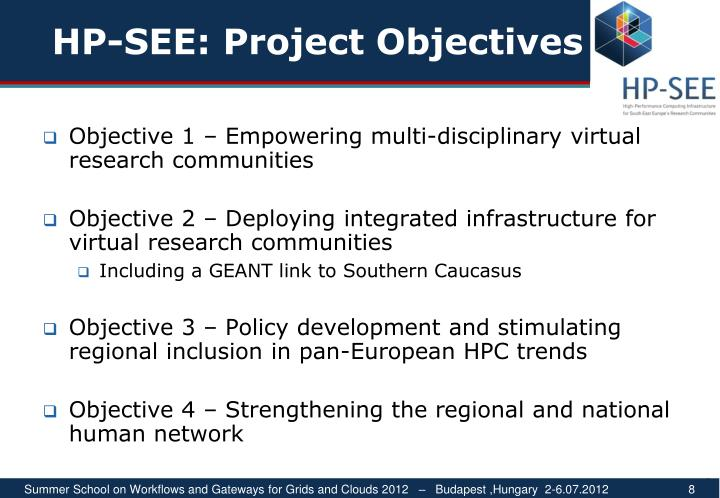 HP-SEE: Project Objectives
