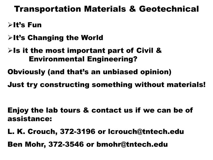 Transportation Materials & Geotechnical