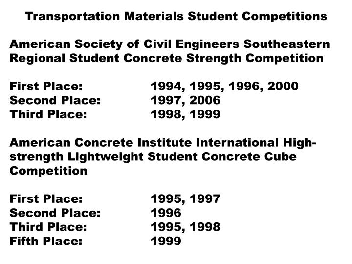 Transportation Materials Student Competitions