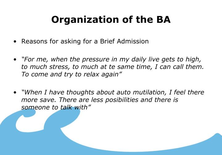Organization of the BA
