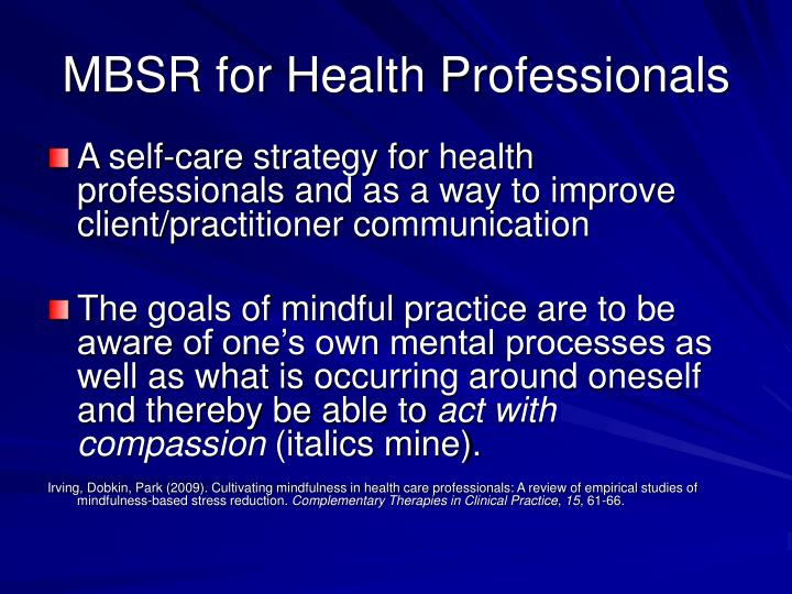 MBSR for Health Professionals