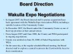 board direction wakulla expo negotiations