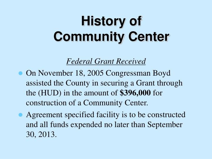 History of community center
