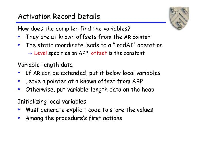 Activation Record Details