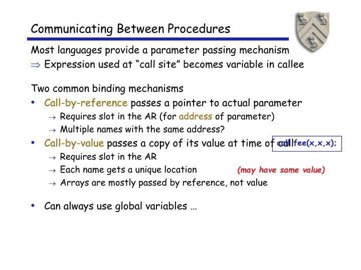 Communicating Between Procedures