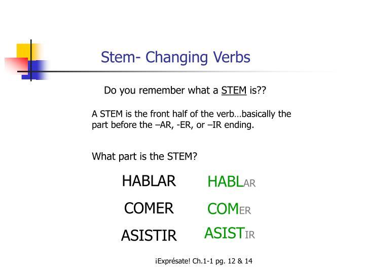 Stem- Changing Verbs