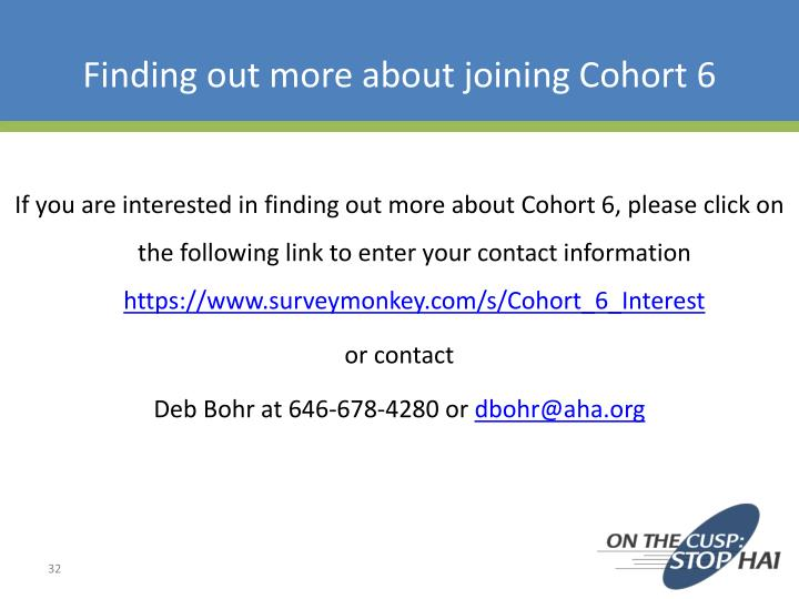 Finding out more about joining Cohort 6