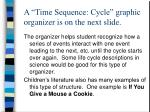 a time sequence cycle graphic organizer is on the next slide