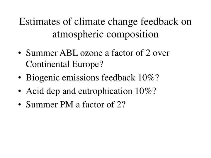 Estimates of climate change feedback on atmospheric composition