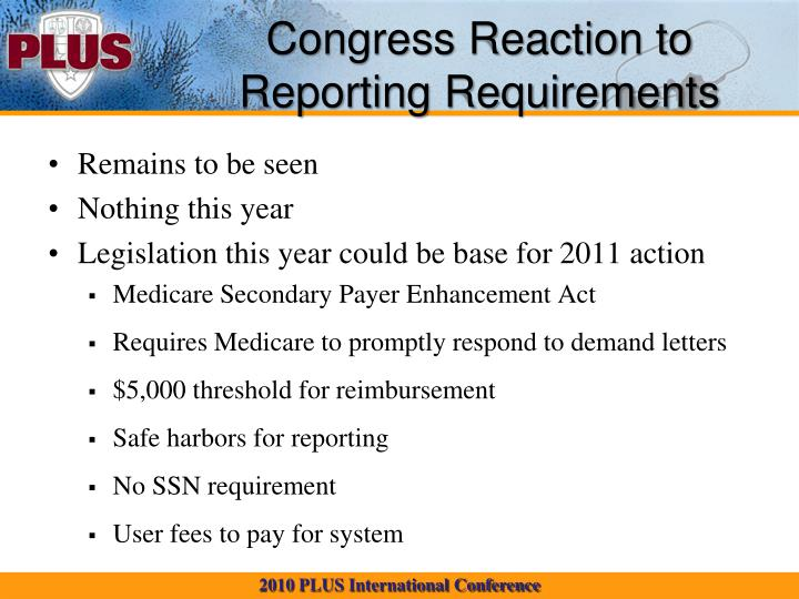 Congress Reaction to Reporting Requirements